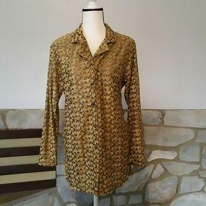 Vintage Diane Von Furstenberg gold flock burnout L